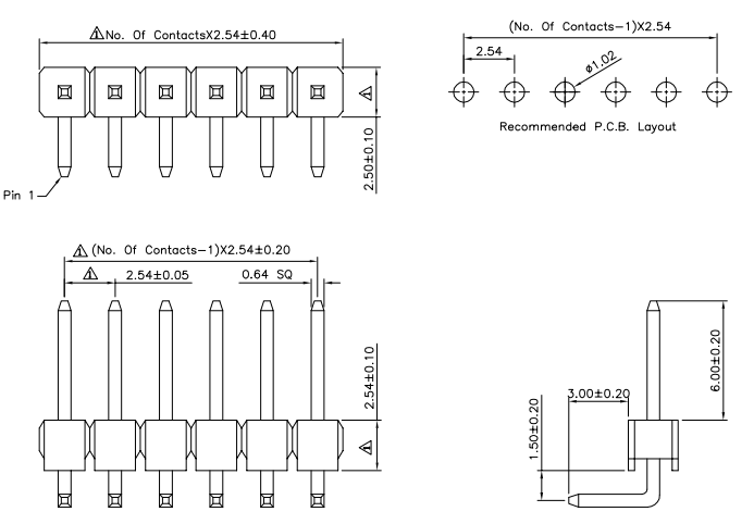 "Male Header-0.1"" 40-pin DIP Right Angle Single Row size"