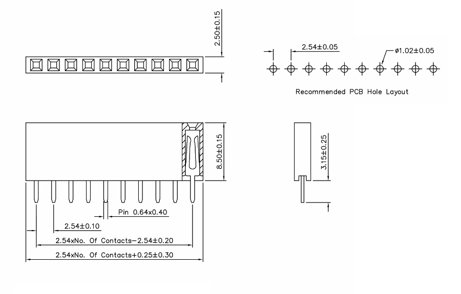 0.1'' 40-pin Strip Famale Header Size
